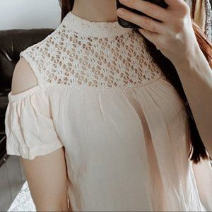 b.young Pink Lace Cold Shoulder Blouse